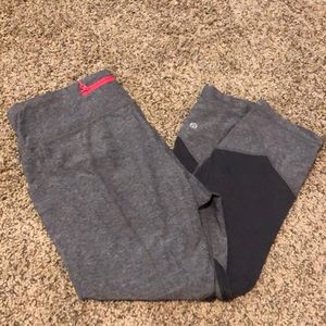 Lululemon Heather gray pace rival crops